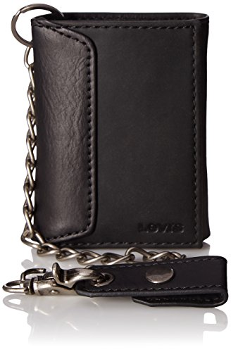 Levi's Men's Trifold Wallet - Sleek and Slim Includes ID Window and Credit Card Holder,Black with - Wallet Chain Mens