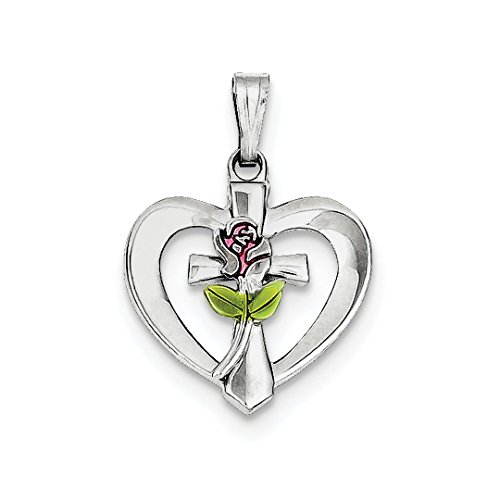 925 Sterling Silver Enamel Cross Religious Rose Heart Pendant Charm Necklace Fine Jewelry For Women Gift Set