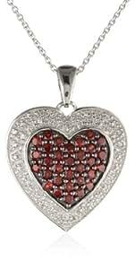 "Sterling Silver Round Garnet Diamond Heart Pendant Necklace, 18"""