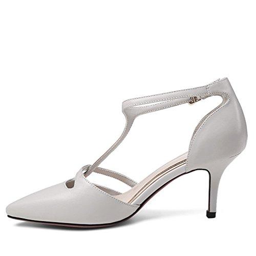 Nine Seven Cuero Moda Puntiagudos Zapatos de Tacón Aguja con Correa de Tobillo para Mujer gris