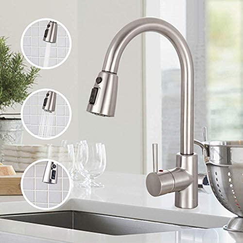 Sink Faucet, TECCPO Single Handle High Arc Brushed Nickel Pull Down Kitchen Faucet with 3 Spray Modes, Stainless Steel Kitchen Sink Faucet with Deck Plate