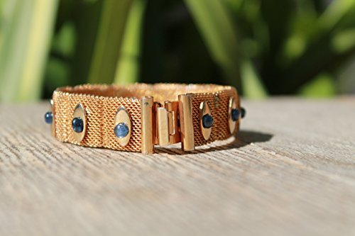Vintage bracelet gold tone 1940s hard mesh bracelet with perfect blue sapphire cabochons of great quality (Sapphire Si1 Bracelet)