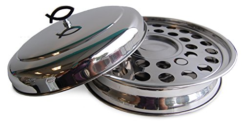 Silver Communion Tone Tray - Stackable Communion Tray with Center Wafer Plate integrated and Tray Cover - Stainless Steel Silver Tone