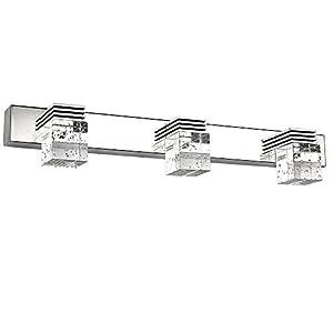 Letsun Modern 9W 3-Light Cool White Bathroom Crystal Lights Wall Light LED Lamps Cabinet Mirror Lighting Fixture