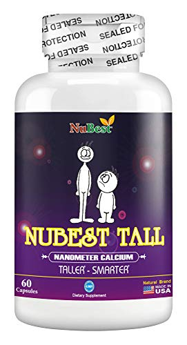 Naturally 60 Vegetable Capsules - Maximum Natural Height Growth Formula - NuBest Tall 60 Veggie Capsules - Herbal Peak Height Pills - Grow Taller Supplements - Nanometer Calcium - Doctor Recommended