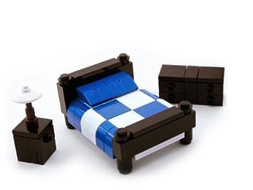 LEGO Furniture: Bedroom Set w/ Dresser, Nightstand and Lamp (Blue)