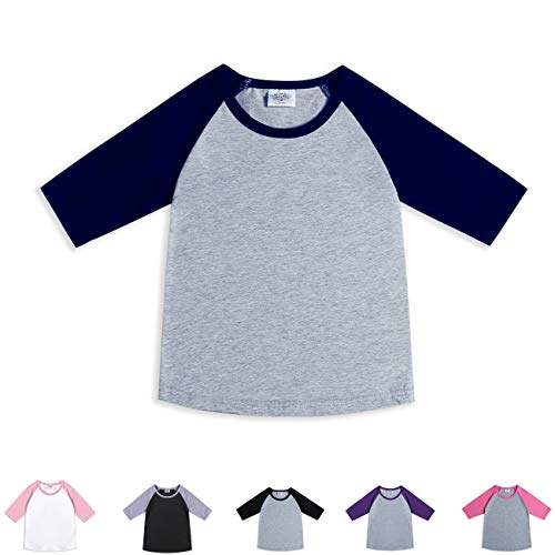 (CloudCreator Toddler Baby Girls Boys 3/4 Sleeve Shirts Raglan Shirt Baseball Tee Cotton T-Shirt (Navy&Grey, 1-2 Years))