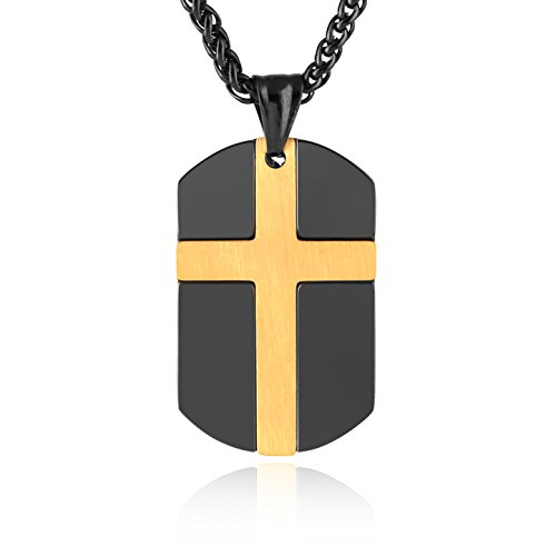 HZMAN Isaiah 41:10 Jewelry, Stainless Steel cross Dog Tag Necklace STRENGTH Bible Verse (Black & Gold) -
