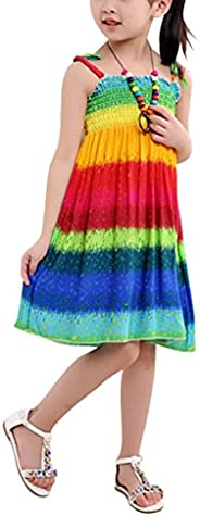 Qlan Girls Bohemian Dresses Floral Sleeveless Rainbow Beach Sundress with Necklace