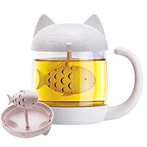 Royal Joy 3D Cute Cat Glass Tea Mug  Animal Coffee Mug  Tea Cup With Fish Infuser Filter Strainer  Novelty Gift With Fish Filter In Cat Mug Lovely Kitty Cup  Home Office D Cor