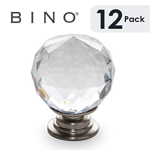 BINO 12-Pack Crystal Cabinet Knobs Drawer Pull Handles - 1.25