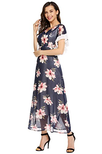 Floral Women Chiffon Flare Print Neck Sleeve Maxi Dress OFA AL V Blue Pleated 0F6qWU4w