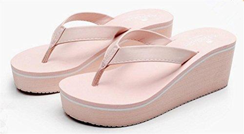 Plataforma Para Mujer Sandalias De Tacón Alto Sandalias Tanga Zapatillas Rosa