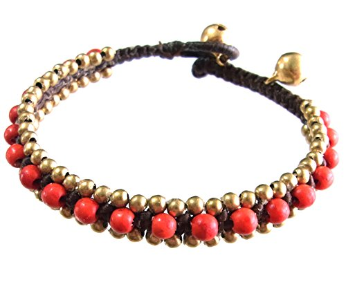 Thai Asian Fashion Art Handmade Adjustable Bracelet Wax String Stone Brass Bell Beads Buttons Red Gold Wristband