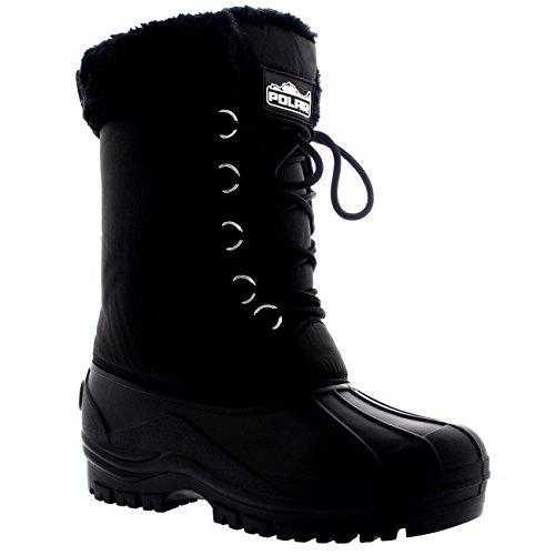 Damestruien Veters Sneeuw Winterregen Zwart Mid-kalf Laarzen Zwart