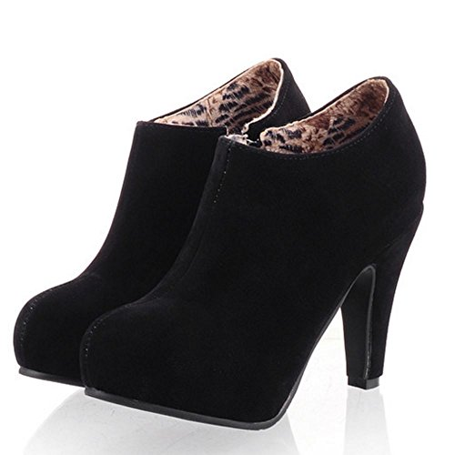 Botas de Black Botines RAZAMAZA Altos Tacones 1256 Cremallera Zapatos Moda Mujer 080v6