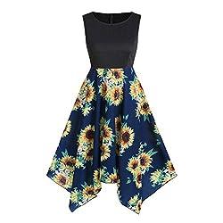 Lim Shop 2019 Women Summer Dress Plus Size Tank Sleeveless Dress Camis Irregular Hem Floral A Line Party Cocktail Blue