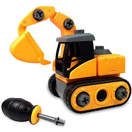 WisToyz Take Apart Toys, Toy Vehicles, Assembly Toy Excavator with Constructions Set, Building Vehicle Play Set with Screwdriver, Ideal Educational Toy for Toddlers, Boys & Girls Aged 3, 4, 5, ()
