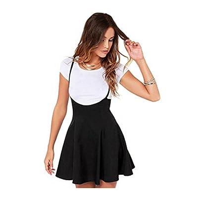 Shensee Women Black Skater Skirts With Shoulder Straps Pleated Hem Braces Miniskirt