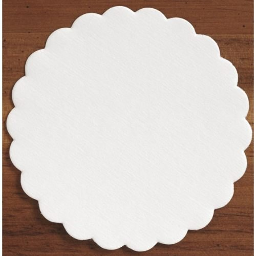 Hoffmaster 306 Specialty Sanitary White Round Scalloped Coasters Budgetboard, 4 inch - 1000 per case.