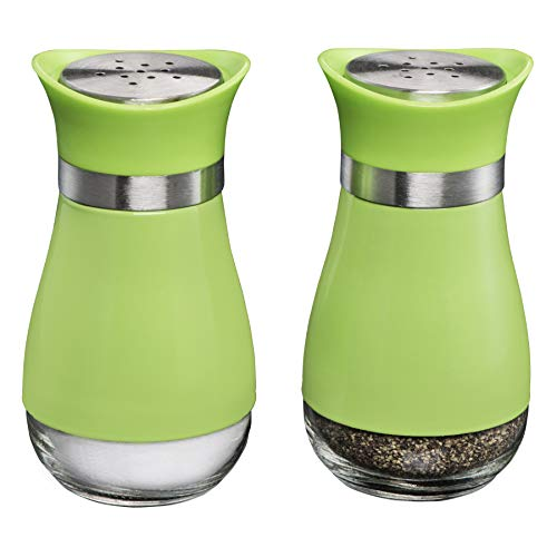 MITBAK Salt and Pepper Shakers (2-Pc. Set) Elegant w/Clear Glass Bottom | Compact Cooking, Kitchen and Dining Room Use | Classic, Refillable Design (Green) ()