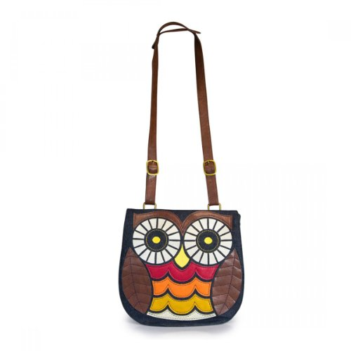 Loungefly Owl Denim Crossbody Messenger Bag