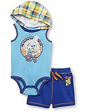 Disney Baby Mickey Mouse Newborn Boy's Hoodie Bodysuit & Shorts (Born To Surf)