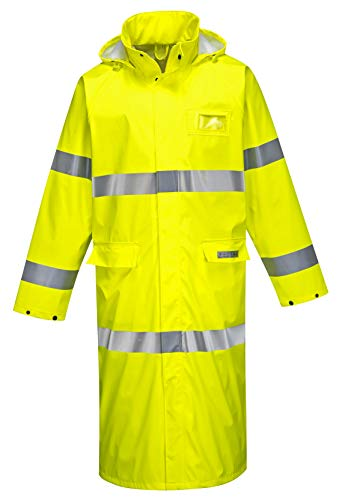 Brite Safety Flame Resistant Hi Vis Rain Coat 50'' - ANSI Class 3 - High Visibility, Waterproof, Lightweight (2XL, HiVis Yellow) by Brite Safety (Image #1)