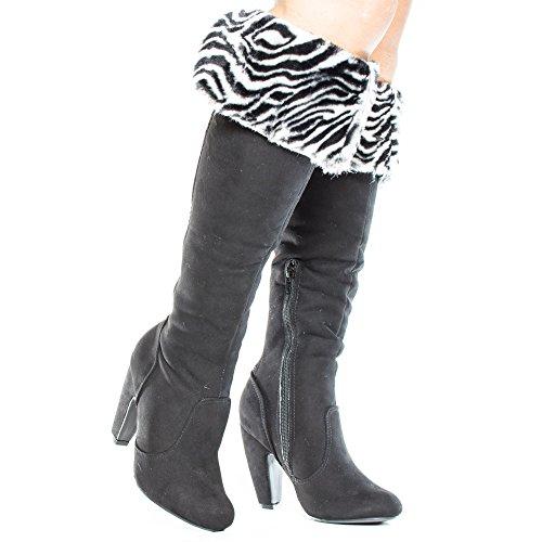 Stivali Alti Tacco Alto In Pelliccia Animalier Stampa Zebra Nera Zebra Nera