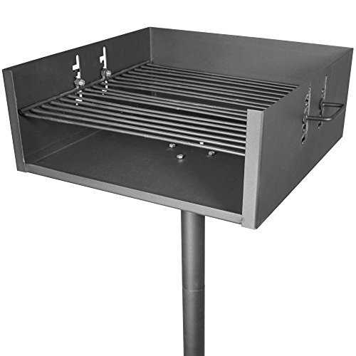 Titan Heavy Duty Jumbo Park Style Grill Single Post Adjustable Position Cooking ()