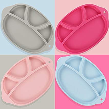VALUEU Silicone Divided Toddler Plates Portable Non Slip Suction Plates Children Kids BPA Free FDA Approved Baby Dinner Plate