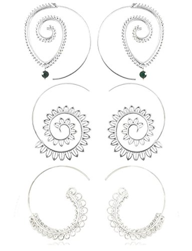 Vintage Bohemian Spiral Hoop Earrings Set For Women 1 - 3 Pairs/Set (B: 3pair Silver) (Silver Hoop Earring Set)