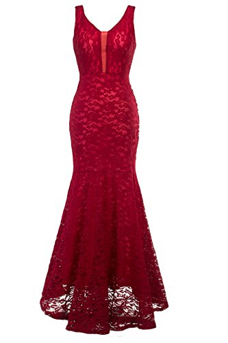 New Gorgeous Red Evening Dress - sekitoba-japan.inc Womens Romantic Sexy Lace Floor Length V-Neck Evening Prom Dress (Small, Red)