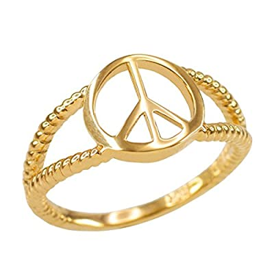 10K Yellow Gold Peace Sign Dainty Ring by LABLINGZ