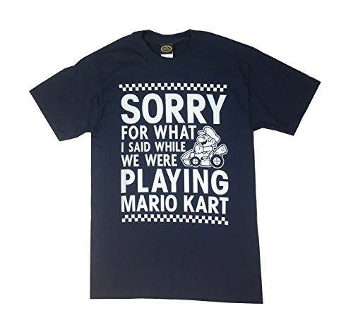 Fifth Sun Men's Nintendo Playing Mario Kart Graphic T-Shirt (Medium, Navy)