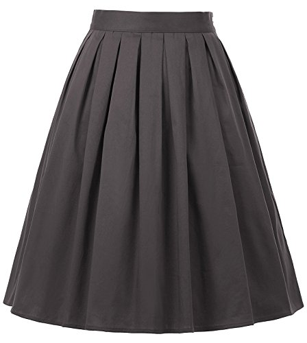 Solid Circle Skirt - GRACE KARIN 50's Retro Pleated Wiggle Skirt Solid Color Grey Size L CL6294-26