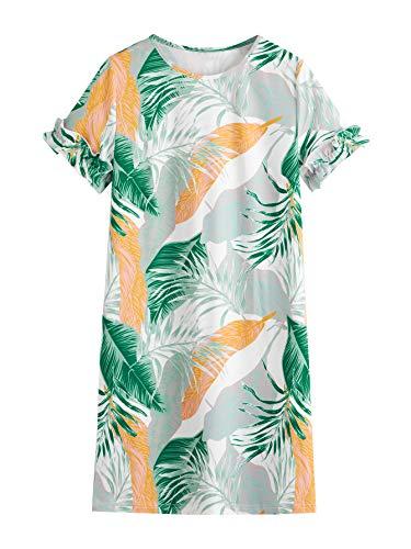 Floerns Women's Tropical Leaf Print Short Sleeve Summer Dress Green Orange XL