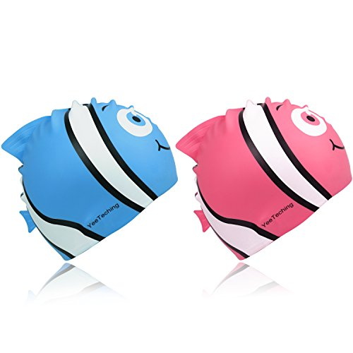 Kids Swim Cap, Pack of 2, Yeeteching Fun Design Silicone Toddler Swim Cap for Boys and Girls Aged - Swimming Cap Direct Sports