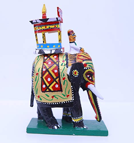Andhra Hand Crafts Kondapalli Wooden Elephant Green (Small)|Size – (4X2X7.5) Inch
