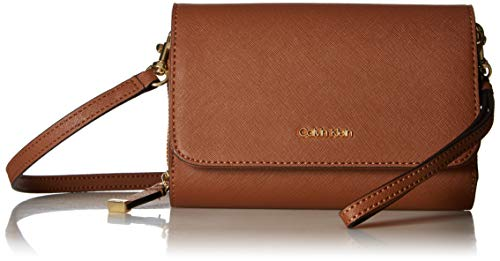 Calvin Klein Hayden Saffiano Leather Key Item Flap Crossbody, Luggage ()