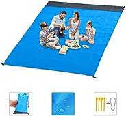 "Beach Blanket,79"" X 83"" Oversized Waterproof Sandproof Picnic Blanket for 5-7 Adults, Portable Pocke"