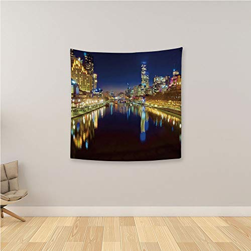 YOLIYANA City Personality Tapestry,Looking Down The Yarra River on a Beautiful Night in Melbourne Water Reflection Wall Hanging Tapestry for Beach Towel Wall Décor,36.2