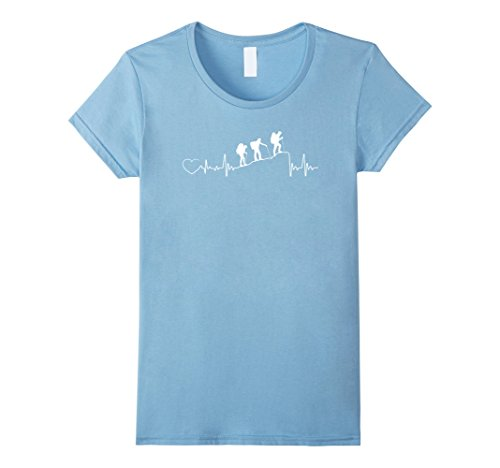 Womens Hiking Mountain Heartbeat T Shirt Gift For Hiking Camping Small Baby Blue
