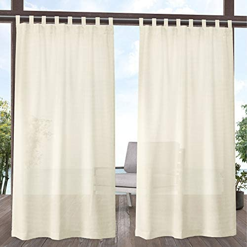 Exclusive Home Curtains Miami Sheer Textured Indoor Outdoor Tab Top Curtain Panel Pair, 54×120, Ivory