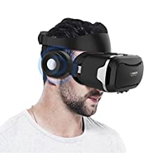 VR Headset, Hizek 3D Virtual Reality Google Cardboard Upgraded Version Movies Games Helme with Earphone for iPhone 7/6sPlus/iPhone6Plus,Samsung Galaxy S7/Galaxy S7 Edge,HUAWEI,Xiaomi