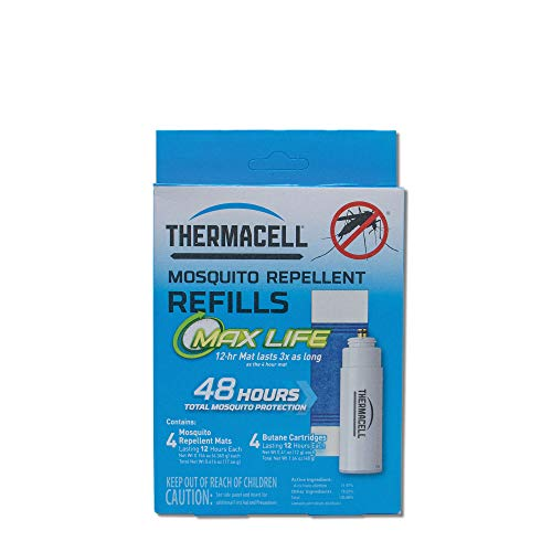 - Thermacell Max Life Mosquito Repellent Refills, 48-Hour Pack; Mat Lasts 3x Longer than Originals; Contains 4 Scent-Free, 12-Hour Repellent Mats and 4 Fuel Cartridges; DEET-free, No Spray, No Mess