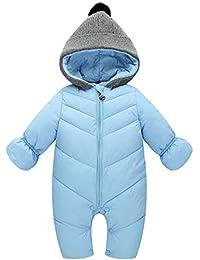 88899a351318 Unisex Baby Hooded Puffer Jacket Jumpsuit Winter Snowsuit Coat Romper