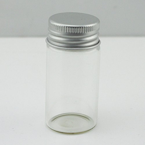 AEAOA Pack of 10 5/6 OZ 2-2/5'' Tall 1-1/5''Diameter Small Clear Glass Bottle Vial Pendant With Aluminum Lid (5/6 OZ) by AEAOA