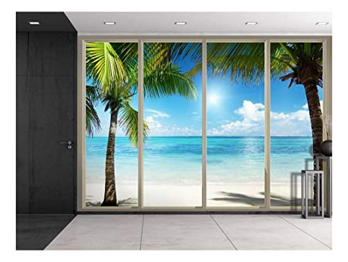 Ocean Wallpaper Murals - Wall26 - Palm Trees on an Island Framing the Blue Ocean Viewed From Sliding Door - Creative Wall Mural, Peel and Stick Wallpaper, Home Decor - 100x144 inches