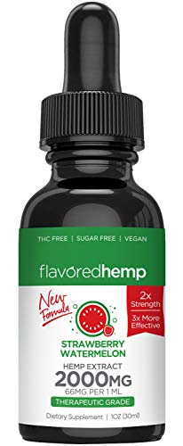 (2-Pack) Hemp Oil – 1000 MG – Strawberry Watermelon Flavor – 100% Organic Hemp Extract Drops – Natural Pain Stress…